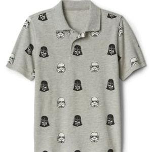 Gap Kids Star Wars Boys Polo Shirt Size XXL Grey